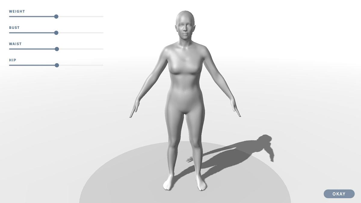 interface with four adjustment sliders and a 3d model of a person